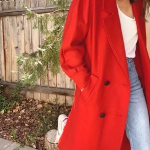 Vintage red long wool pea coat